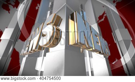 3d World News Background, Digital World Breaking News Studio Background For News Report And Breaking
