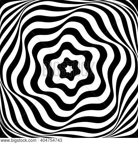 Illusion of swirl rotation movement. Abstract op art design.