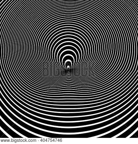 Abstract circle lines pattern in op art design with 3D illusion.
