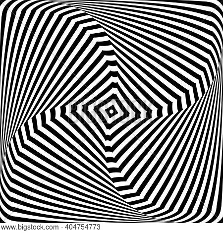 Illusion of twisting rotation torsion movement. Lines texture. Abstract op art design.