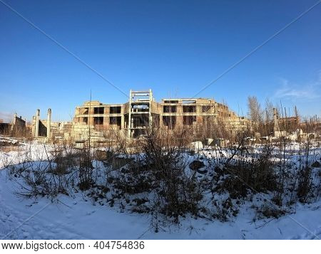 Abandoned construction site of Hospital. Built as a center for radiation and burn injuries after the Chernobyl disaster.Abandoned at 1991,during Ukrainian undependence crisis. Kiev Region,Ukraine