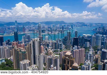 Victoria Peak, Hong kong 25 August 2020: Aerial view of Hong Kong city
