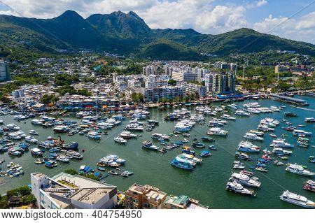 Sai Kung, Hong Kong 24 July 2020: Aerial view of Hong Kong city view with seaside