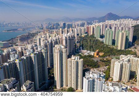 Yau Tong, hong Kong 06 November 2020: Top view of Hong Kong city