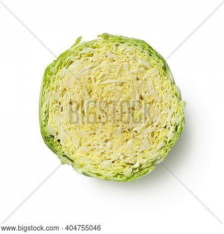 Halved fresh raw whole Savoy cabbage isolated on white background