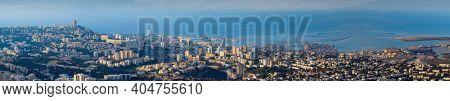 The Cityscape of Haifa At Sunset,  The Big Panorama Of Haifa Skyline At Sunset, Aerial View, Israel