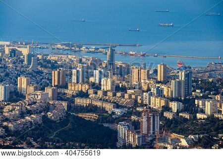 The Haifa Cityscape at Sunset, Haifa Downtown Aerial View, Israel