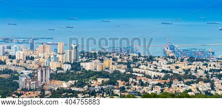 The Cityscape of Haifa At Day,  Haifa Downtown Aerial View, Israel