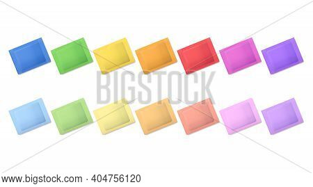 Rainbow Colored Packets. A Set Of Pouches In Vibrant Colors, And Another Set In Softer Tones. Multic