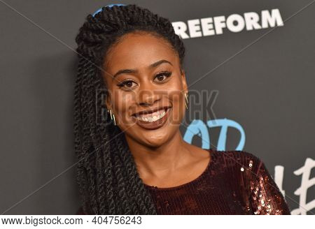 LOS ANGELES - JAN 08:  Actress Zuri Adele arrives for Freeform's