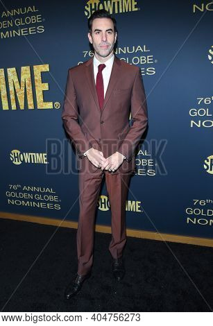 LOS ANGELES - JAN 05:  Actor Sacha Baron Cohen arrives for Showtime Golden Globe Nominee Celebration Premiere on January 05, 2019 in West Hollywood, CA
