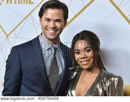 LOS ANGELES - SEP 21:  Andrew Rannells and Regina Hall arrives for Showtime Celebrates Emmy Eve on September 21, 2019 in West Hollywood, CA