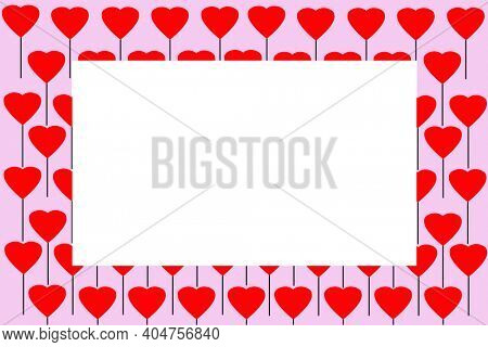 Picture Frame. Valentine's Day Picture Frame. Heart Picture Frame isolated on white. Room for Photo or Text. Valentine's Day Hearts.