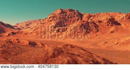 Mars planet landscape, 3d render of imaginary mars terrain, realistic science fiction illustration.