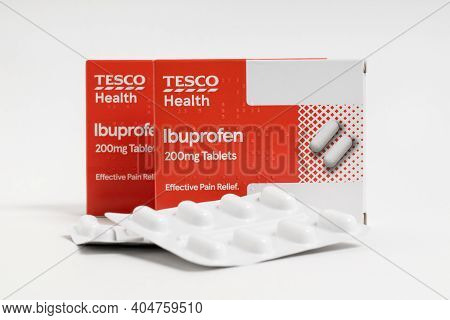 London / Uk - January 23rd 2021 - Ibuprofen Packets From Tesco Supermarket, Isolated On A White Back