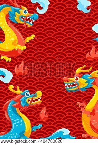 Background With Chinese Dragons. Traditional China Symbol. Asian Mythological Animals.