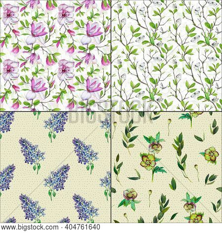 Seamless Floral Background Magnolia Lilac Flowers Pattern Green Hellebore