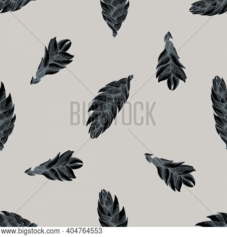Seamless Pattern With Hand Drawn Stylized Bromeliad Stock Illustration