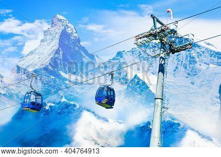 Amazing Beautiful View Of Gornergrat, Zermatt, Matterhorn Ski Resort In Switzerland With Cable Chair