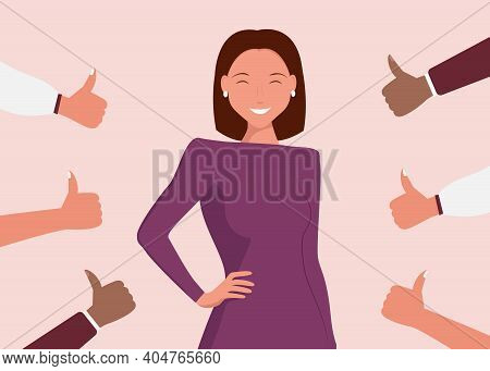 Cheerful Young Woman Is Surrounded By Hands With Thumbs Up. The Concept Of Public Approval, Audience