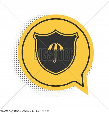 Black Waterproof Icon Isolated On White Background. Shield And Umbrella. Water Protection Sign. Wate