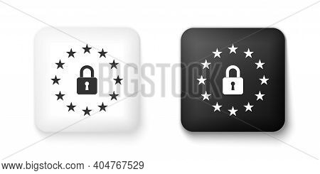 Black And White Gdpr - General Data Protection Regulation Icon Isolated On White Background. Europea