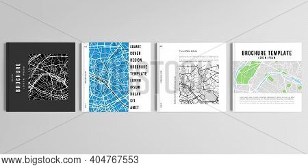 Realistic Vector Layouts Of Cover Mockup Design Templates With Urban City Map Of Paris For Square Br