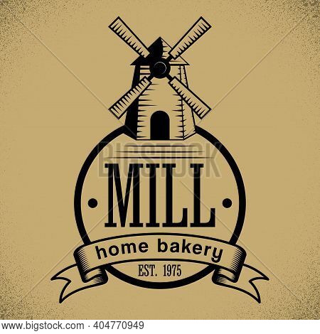 Bakery Stylish Poster With Cartoon Of Mill On Beige Background Vector Illustration