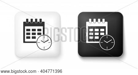 Black And White Calendar And Clock Icon Isolated On White Background. Schedule, Appointment, Organiz