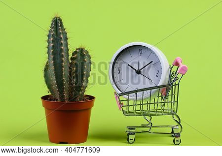 Time To Shopping. Cactus In Pot, Clock And Supermarket Trolley On Green Studio Background.