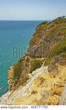 View Of Shoreline In La Brena National Park On Barbate Coast In Cadiz Province, Spain