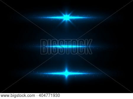 Set Of Blue Lighting Glowing Shining Sparkling With Particles Glitter Dust On Dark Background. Vecto