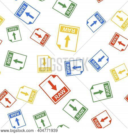 Color Raw File Document Icon. Download Raw Button Icon Isolated Seamless Pattern On White Background