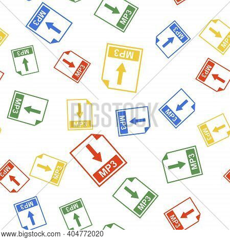 Color Mp3 File Document Icon. Download Mp3 Button Icon Isolated Seamless Pattern On White Background