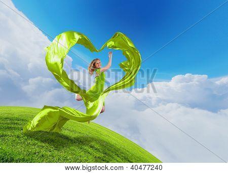 Female dancer and heart symbol