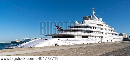 Cadiz, Spain - 16 January, 2021: The United Arab Emirates Presidential Megayacht