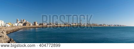 Panorama Cityscape View Of The Historic City Center In Cadiz