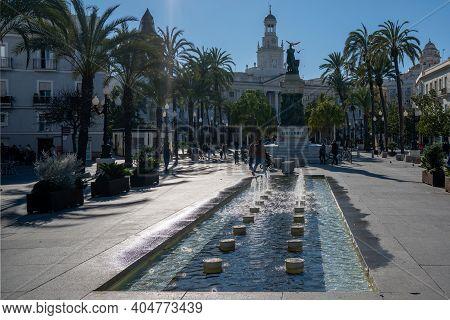 Cadiz, Spain - 16 January, 2021: View Of The Plaza De San Juan De Dios Square And The Moret Monument