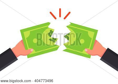 Tear The Bill Into Two Parts. Tear The Money With Your Hands. Flat Vector Illustration.