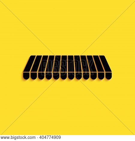 Black Striped Awning Icon Isolated On Yellow Background. Outdoor Sunshade Sign. Awning Canopy For Sh