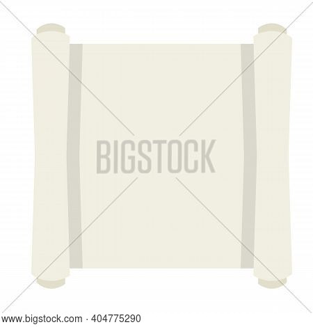 Blank Sheet Of Paper With Roll. Ancient Scroll Papyrus. Place For Text And Template. Cartoon Flat Il