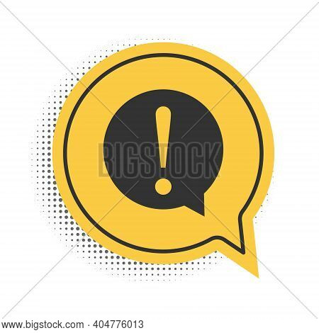 Black Exclamation Mark In Circle Icon Isolated On White Background. Hazard Warning Symbol. Faq Sign.