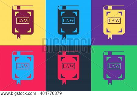Pop Art Law Book Icon Isolated On Color Background. Legal Judge Book. Judgment Concept. Vector