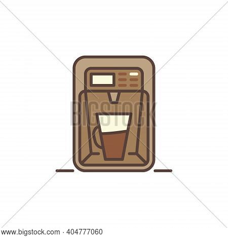 Latte Coffee Maker Machine Vector Concept Modern Brown Icon Or Logo Element