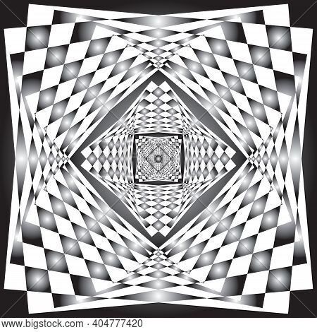 Intersected Trajectory Festive Frames Perspective Illusion Abstract Background Black On Transparent