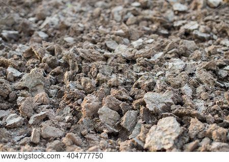 Dug Dry Gray Earth Texture On Field