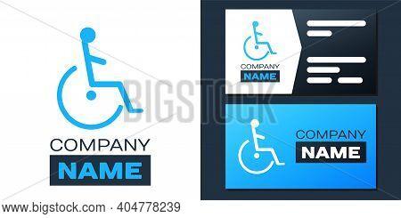Logotype Disabled Handicap Icon Isolated On White Background. Wheelchair Handicap Sign. Logo Design