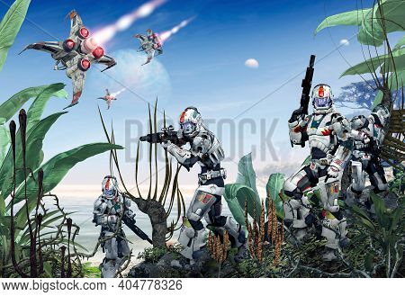 Futuristic Scifi Military Soldiers In Battle Armor Occupy An Alien Planet, 3d Render Illustration.