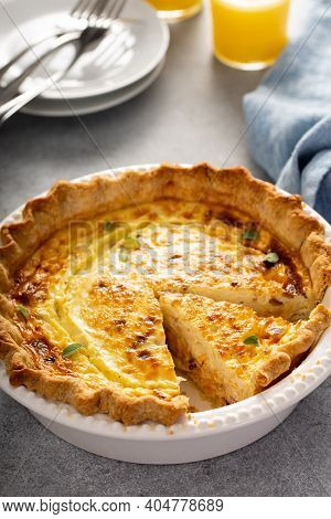 Quiche Lorrain Homemade Freshly Baked With A Slice Cut