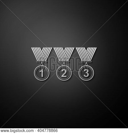 Silver Set Medal Icon Isolated On Black Background. Winner Simbol. Long Shadow Style. Vector